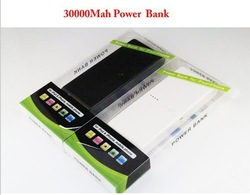 free shipping 2 Usb Port 30000mAh Power Bank portable charger External Battery for iphone 5 ipad, samsung galaxy S3(China (Mainland))