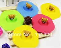 Free shipping/EMS,Animal head dustproof silicone cup lid,leakage-proof glass cup cover as table decoration coffee cup accessory