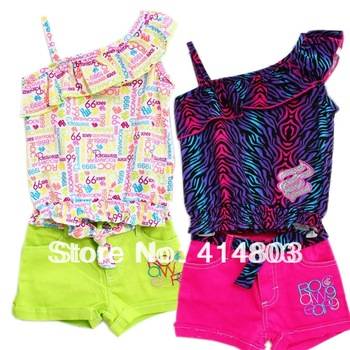 3sets/lot.2-4Year New Kid Rocawear 3PCS Suit, Girls Summer T-shirt+ Jeans Shorts, Children's Clothing Set Toddler Outfits