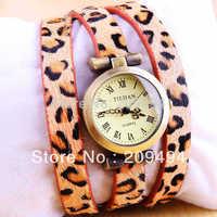 Newest Arrival Woman Wristwatch Leopard Leather Band Bracelet  Watch Antique Quartz  Beautiful Watch 2 Color Free Shipping