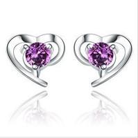 Free Shipping 925 Sterling Silver Heart Earrings Earrings Wholesale 925 Silver Earrings Fashion Jewelry XE641