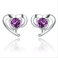 Free Shipping 925 Sterling Silver Heart Earrings Earrings Wholesale 925 Silver Earrings Fashion Jewelry XE641