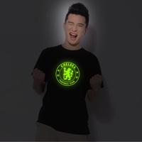 O-neck cotton short-sleeve 100% T-shirt male neon premier league badge chelsea luminous short-sleeve t shirt