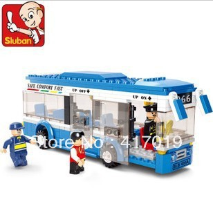 Free shipping Sluban M38-B0330 235pcs 3D DIY hot discount Plastic building block sets eductional bricks blocks children toys bus