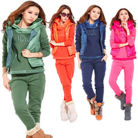 2013 winter hoodies clothing for women leisure suit fleece thickening  pullover winter set hooded sweatshirt (jacket vest pants)