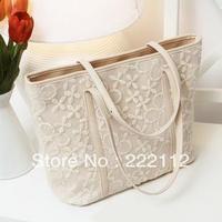 Promotion Hot Sale New 2014 Fashion Vintage Lace Print Designers Brand Tote Bucket Handbags Women's Leather Handbags