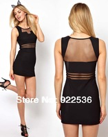 Blackless Sexy Black Vestidos Dress Perspectivity Gauze Sexy Low-cut Cutout Slim Hip Slim One-piece Dress 10122