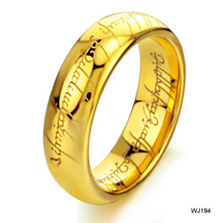 Couple jewelry wholesale trade jewelry gift gold Lord of the Rings tungsten gold men's ring WJ194(China (Mainland))