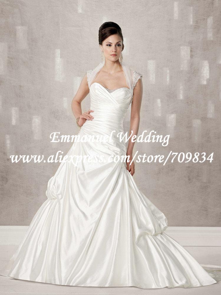A line heart shaped wedding dresses : Modest a line heart shape beaded neckline pleat