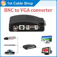 Free shipping&wholesale 1PCS/lot S-video VGA BNC to VGA converter adapter box