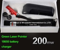 Laser 303 200mW Green Laser Pointer Adjustable Focal Length and Star Pattern Filter+3000MAH 18650 Battery+charger with box