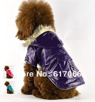 Top Quality,10pcs/Lot Pet Dog  Winter Raincoat  waterproof coat  Dog Clothes rainwear Pocket Hoodie XS,S,M,L XL 3 Colors