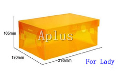 FREE SHIPPING transparent shoe box translucent white plastic storage box clear pp haddle shoe packaging box 10pcs/lot(China (Mainland))