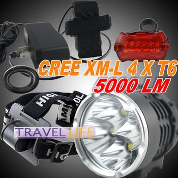 Newest!!  5000 Lumen 4x CREE XM-L T6 LED Headlight Headlamp Bicycle Bike Light Waterproof Flashlight +rear light