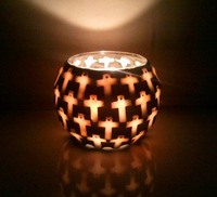 Wholesale Handmade Votive Seashell Mosaic Candle Holder/ Religious Candle Holders/ Cross Mosaic Candle Holder/ Bougeoir