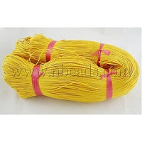 Cotton Wax Cord,  Yellow,  1mm in diameter,  about 430m/bundle