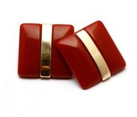 On Sale! EB 2013 New Arrival Fashion Red acrylic stud earrings hot sell stud earrings gold filled in the middle jewelry