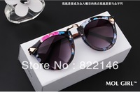 free shipping Unisex Fashion    Vintage Retro sunglasses  ,round fram color glaze sun glasses
