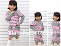 5pcs girls striped dress girl's necklace pink gray navyblue white stripe dresses beading long sleeve top clothes tops