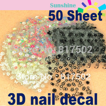 New hot 4*50 Sheets/Lot 3D Nail Sticker Tip Nail Art  Manicure Mix Color Flower For Nail Decoration DIY Free Shipping 917