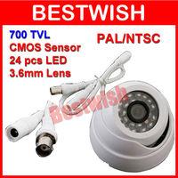 Freeshipping 700TVL Surveillance Color CMOS 3.6mm Indoor 24pcs IR LEDs Security Mini Dome CCTV Camera Neutral Color Box