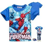 Wholesale 6pcs/lot 2014 children Summer boys child clothes design baby Spiderman 100% cotton tshirt baby  tees kids t-shirt