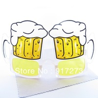Special Design Yellow Beer Glass Style Frame Novelties Prop Sunglasses Club Bar Pub Eyewear Drinking Party Glasses Accessories