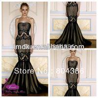 Free shipping Zuhair murad black 2015 Sleeveless Mermaid Floor-Length Sexy Black Evening Dress