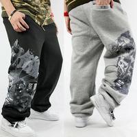 Men's Urban Sweat Pants Sport Jogger HipHop Designer Drand Cotton Fashion Basketball Sweatpants Hip Hop Print Trouser Black/Gray
