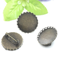 25mm Lace Brooch Back Base,safety pin,French Antique Bronze Cameo accessories of DIY jewelry,100pcs/lot