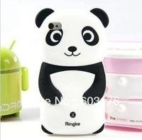 Free Shipping Cute Panda Pattern Protector Skin Cove Silicone Case For IPhone 5