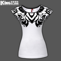 [Amy] womens t shirts  2013 New women's O-NECK Wind restoring ancient ways clipart bump color patch nation  SIZE S-XXXL K0101