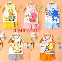 Free shipping 100%Cotton Baby Suit girls boys Children's T-shirt+pants,Sport suits,children vest suit undershirt Shorts Set