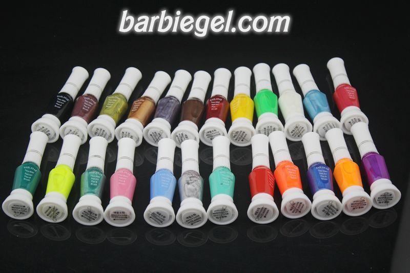 Free Shipping 24 Colors 2- Ways Nail Art Brush & Nail Pen Varnish Polish Nail Tools Set #1(China (Mainland))