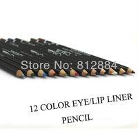 New 2013 12 Color Pencils Waterproof Eyeliner Eye&Lip Liner Pencil Cosmetics Makeup LW009 Free Shpping