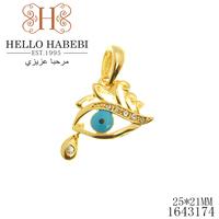 New Fashion Tear Drop Blue Evil Eye Pendant High Quality 18K Real Gold Rhinestone Wholesale 1643174