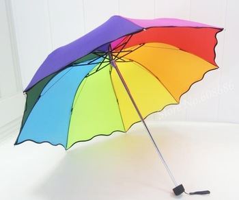 Free shipping!!!  Princess manual rainbow three  folding umbrella