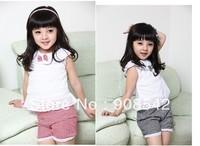 Wholesale New Summer Kids Clothing Set Lace Children Girl Clothes Set T Shirt And Lattice shorts Pants 2Color baby set free ship