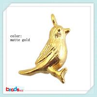 BeadsniceID26440 bird fashion pendants matte gold vintage jewelry 50pcs/lot