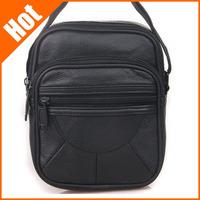 Genuine leather bag 2013 casual cowhide small black Messenger Bag for women men shoulder bag 18*15*8cm
