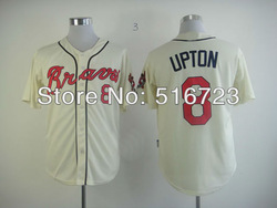 2013 Baseball Jerseys Atlanta Braves 8 Justin Upton cream Embroidery logos COOL BASE Size:48-56 Free shipping can mix(China (Mainland))