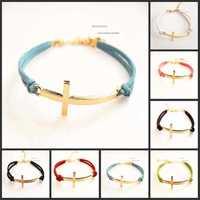 M&T(24pc/lot) Free Shipping New Arrival Hotselling Leather Sideways Cross Bracelet Wholesale