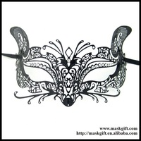 ME002 Wholesale Gatto Venetian Style Black Laser Cut Metal Cat Character Mask For Masquerade Free Shipping