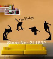 Free Shipping Home Decor Skating Art Decorative Wall Sticker