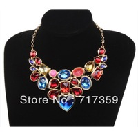 New Arrival 1pc  Colorful Resin Rhinestone Golden/silver  Chain Bib Alloy Pendants Necklace  321013