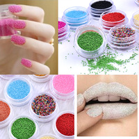 Hot selling 12 Colorful Caviar Nail Beads Glitter Decoration Manicure Shiny Pedicure Pattern Powder Glitter