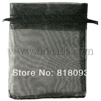 promo beads Organza Bags,  Black,  about 8cm wide,  10cm long