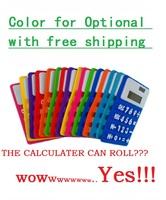 LCD screen  Student calculator refrigerator stickers silica gel calculator roll pocket calculator advertising gift free shipping