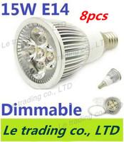 8pcs/lot Hot selling Dimmable E14 5X3W 15W Spotlight Lamp Led Light 85V-265V Led Bulbs Free shipping