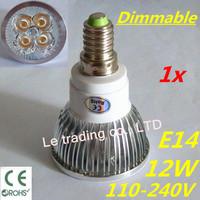 1pcs/lot Hot selling Dimmable E14 4X3W 12W Spotlight Led Lamp Led Light 110V-240V Led Bulbs Free shipping